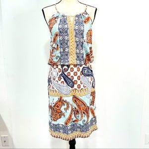 Renee Paisley Print Halter Dress